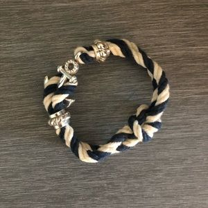 Blue and White Nautical Knotted Bracelet.
